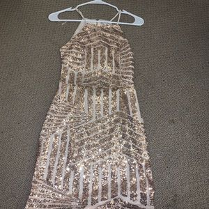 Sequin Rose Gold Bodycon Dress